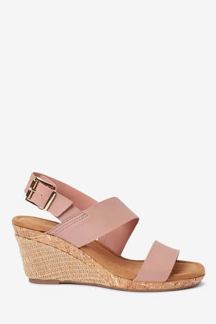 Pink Forever Comfort® Cork Detail Two Band Wedges