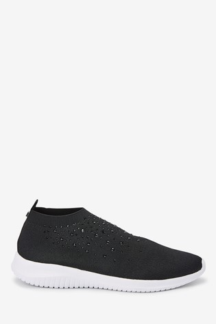 Black Embellished Fly Knit Sock Trainers
