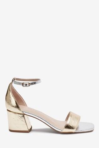 Metallic Regular/Wide Fit Forever Comfort® Simple Block Heel Sandals