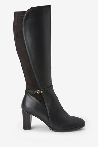 Black Forever Comfort® Heeled Knee High Boots