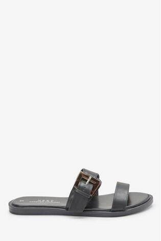 Black Regular/Wide Fit Forever Comfort® Buckle Mules