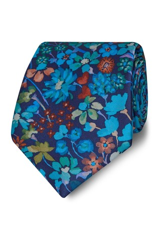 T.M. Lewin Liberty Fabric Wide Blue Dreams Of Belgravia Silk Tie