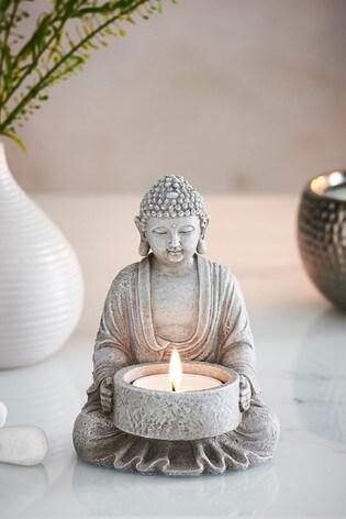 Stone Effect Buddha Tealight Holder