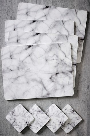 Set of 4 Marble Placemats And Coasters