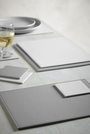 Set of 4 Reversible Faux Leather Placemats And Coasters