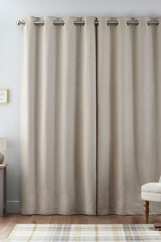 Woven Diamond Geo Eyelet Lined Curtains