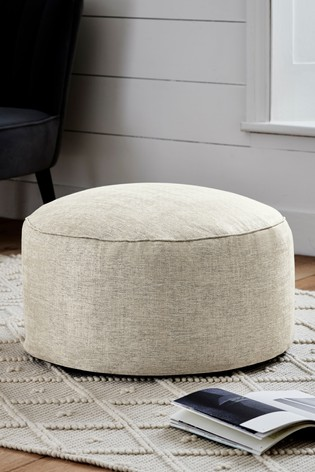 Natural Metallic Woven Geo Pouffe