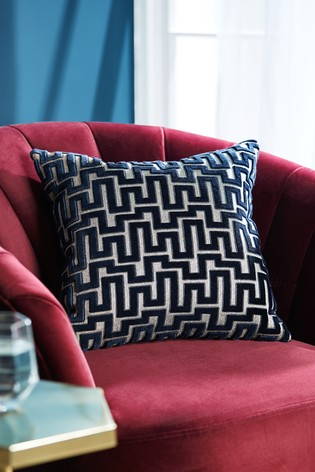 Fretwork Velvet Cushion