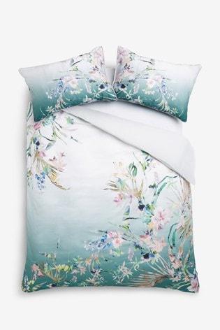 200 Thread Count 100% Cotton Sateen Eastern Tropics Duvet Cover And Pillowcase Set