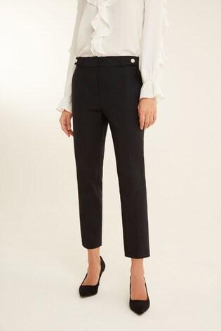 F&F Black Cotton Viscose Trousers