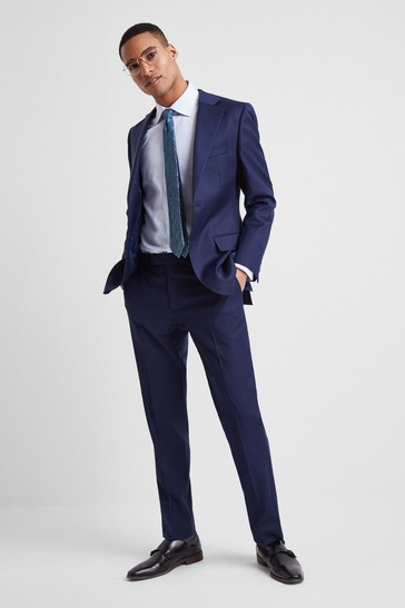 Moss 1851 Tailored Fit Navy Twill Suit: Jacket