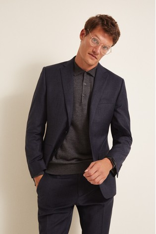 Moss 1851 Performance Navy Milled Check Suit: Jacket