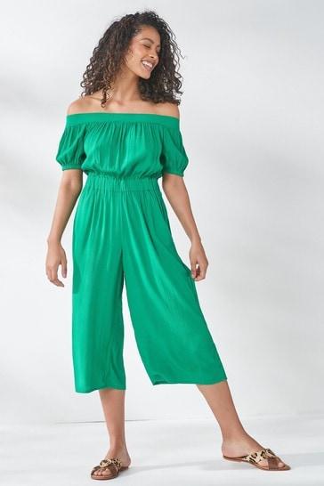 Green Off The Shoulder Jumpsuit