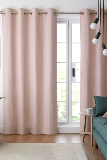 Dusky Pink Cotton Eyelet Lined Curtains