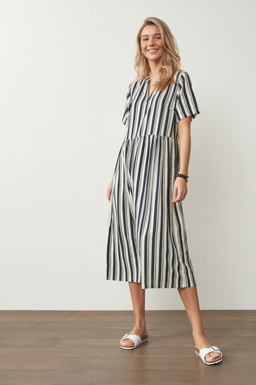 Navy/White Stripe Linen Mix Midi Kaftan Dress