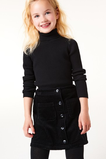 Black Knitted Roll Neck Top (3-16yrs)