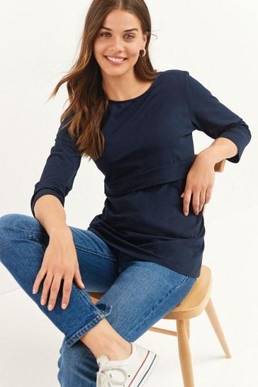 Navy Maternity Organic Cotton Blend Nursing Layer Top