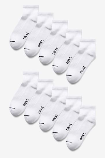 White 10 Pack Mid Cut Sports Socks