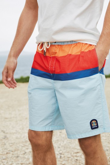 Pale Blue Block Mr Blue Sky Organic Cotton Blend Board Shorts