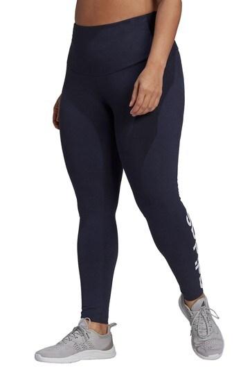 adidas Navy Curve Linear Logo Leggings