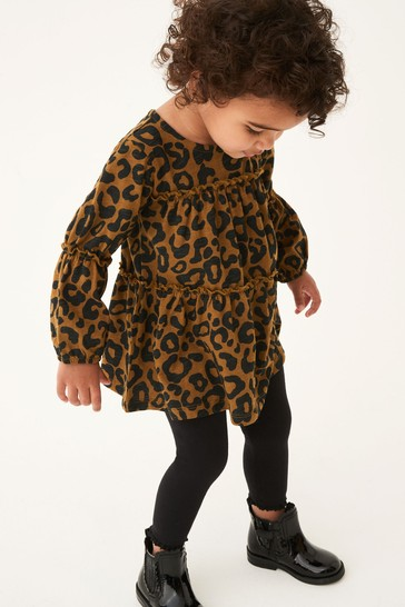 Olive Animal Tiered Tunic Top (3mths-7yrs)