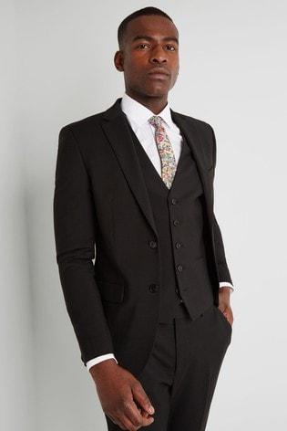 Moss London Skinny Fit Black Stretch Suit: Jacket