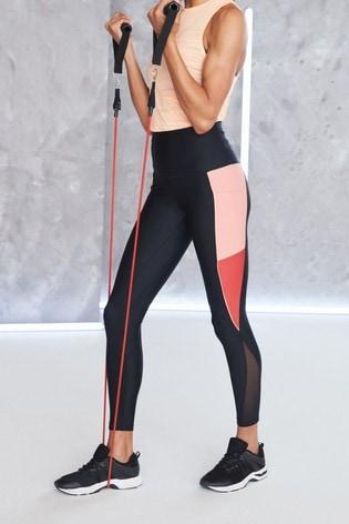 Black/Red Side Panel Sculpting Sports Leggings