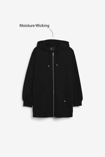 Black Longline Zip Through Hoodie