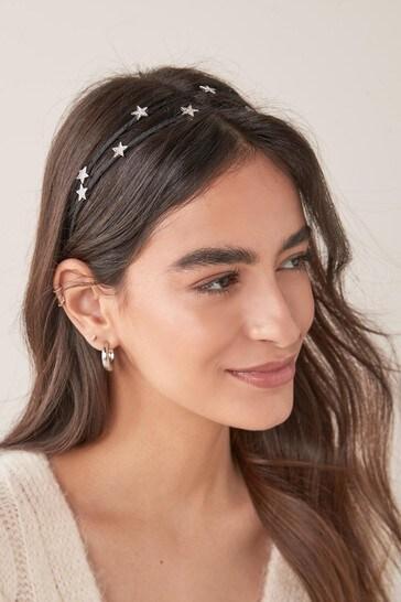 Black Two Row Star Headband