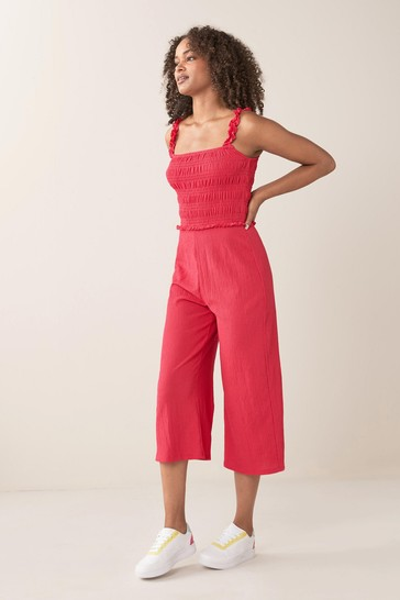 Pink Shirred Jumpsuit