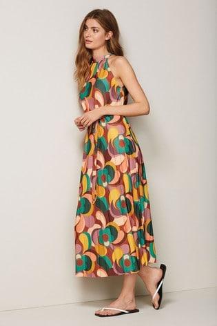 All-Over Print Pleated Halter Dress