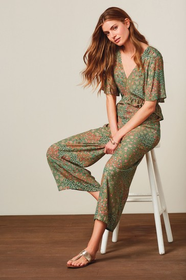 Green Floral Cropped Jumpsuit