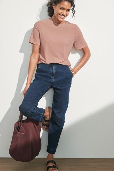 Dark Blue Elasticated Waist Tapered Jeans