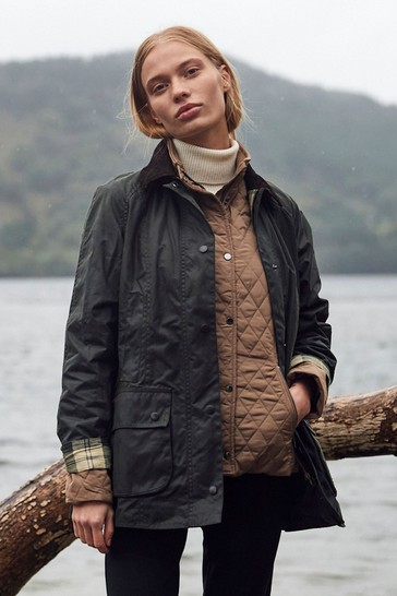 Barbour® Navy Blue & Olive Green Classic Beadnell Wax Jacket