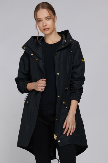 Barbour® International Black & Navy Blue Showerproof Longline Hooded Suzuka Jacket