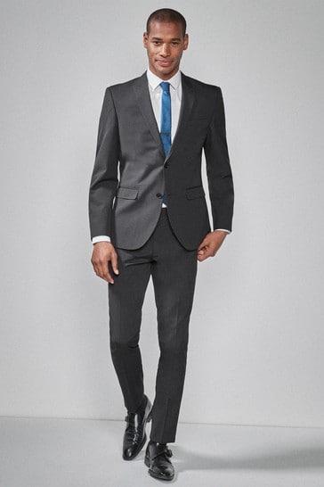 Charcoal Slim Fit Two Button Suit: Jacket