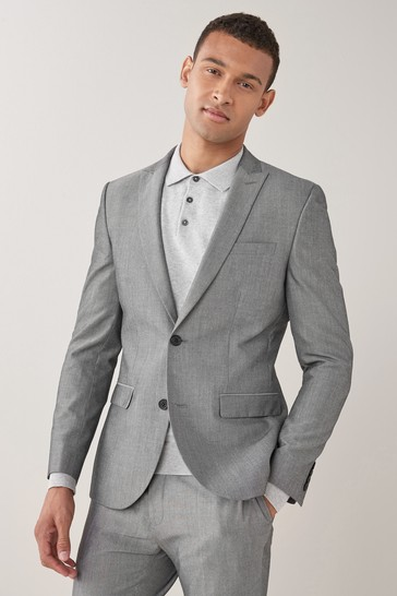 Light Grey Skinny Fit Two Button Suit: Jacket