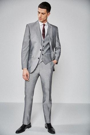 Light Grey Slim Fit Two Button Suit: Jacket