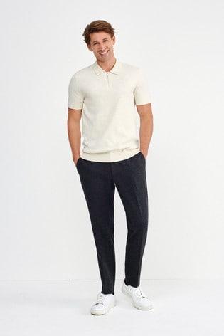 Oatmeal Premium Zip Neck Polo Shirt