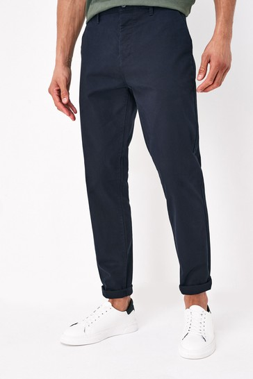 Dark Blue Straight Fit Stretch Chino Trousers