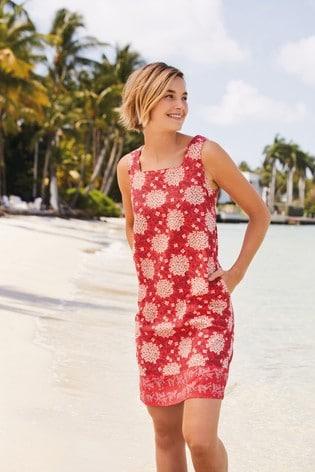 Red Floral Linen Blend Square Neck Dress