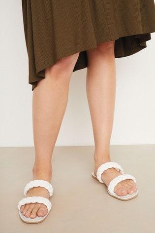 Bone Regular/Wide Fit Forever Comfort® Plaited Mule Sandals