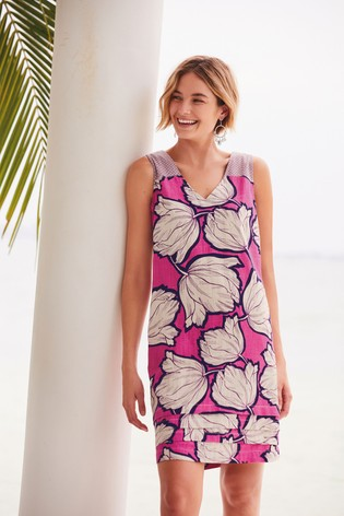 Bright Pink Floral Linen Blend Pintuck Shift Dress