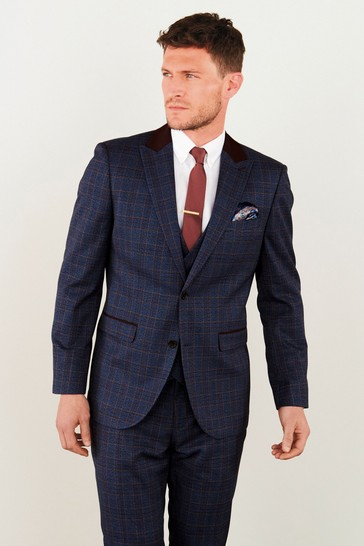 Blue Tailored Fit Check Suit: Jacket