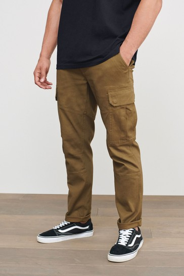 Tan Slim Fit Cotton Stretch Cargo Trousers