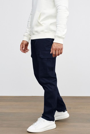 Navy Slim Fit Cotton Stretch Cargo Trousers