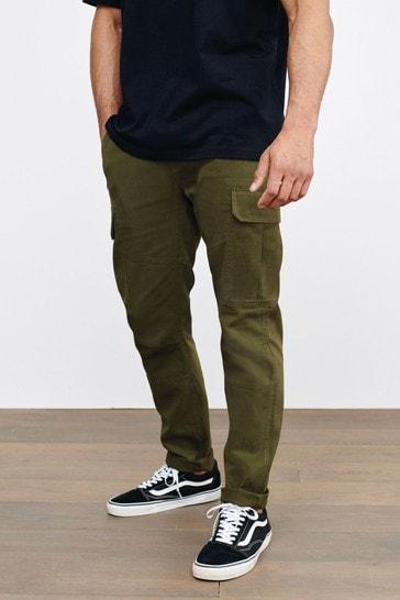 Khaki Green Slim Fit Cotton Stretch Cargo Trousers