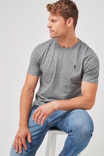 Charcoal Grey Marl Regular Fit Stag T-Shirt