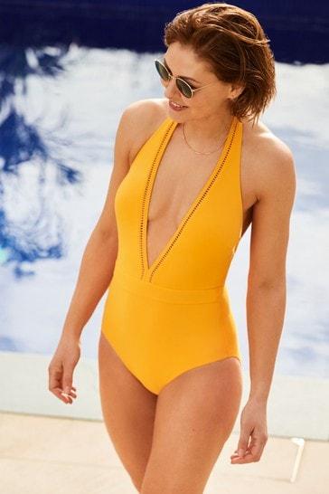 Mango Emma Willis Plunge Swimsuit