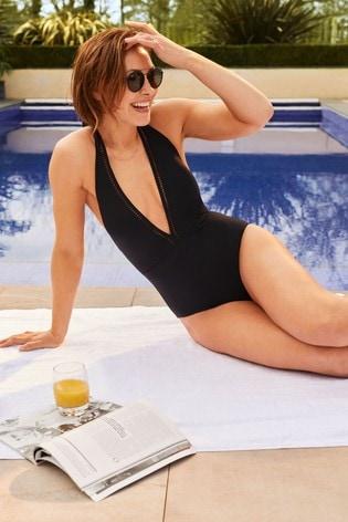 Black Emma Willis Plunge Swimsuit
